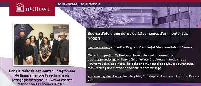 Bourse CAPSAF de Annie-Pier Duguay et Stéphanie Niles