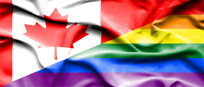 Half Canadian flag half LGBTQ+ flag