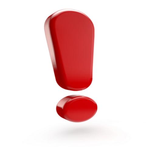 Point d'exclamation rouge en trois dimensions