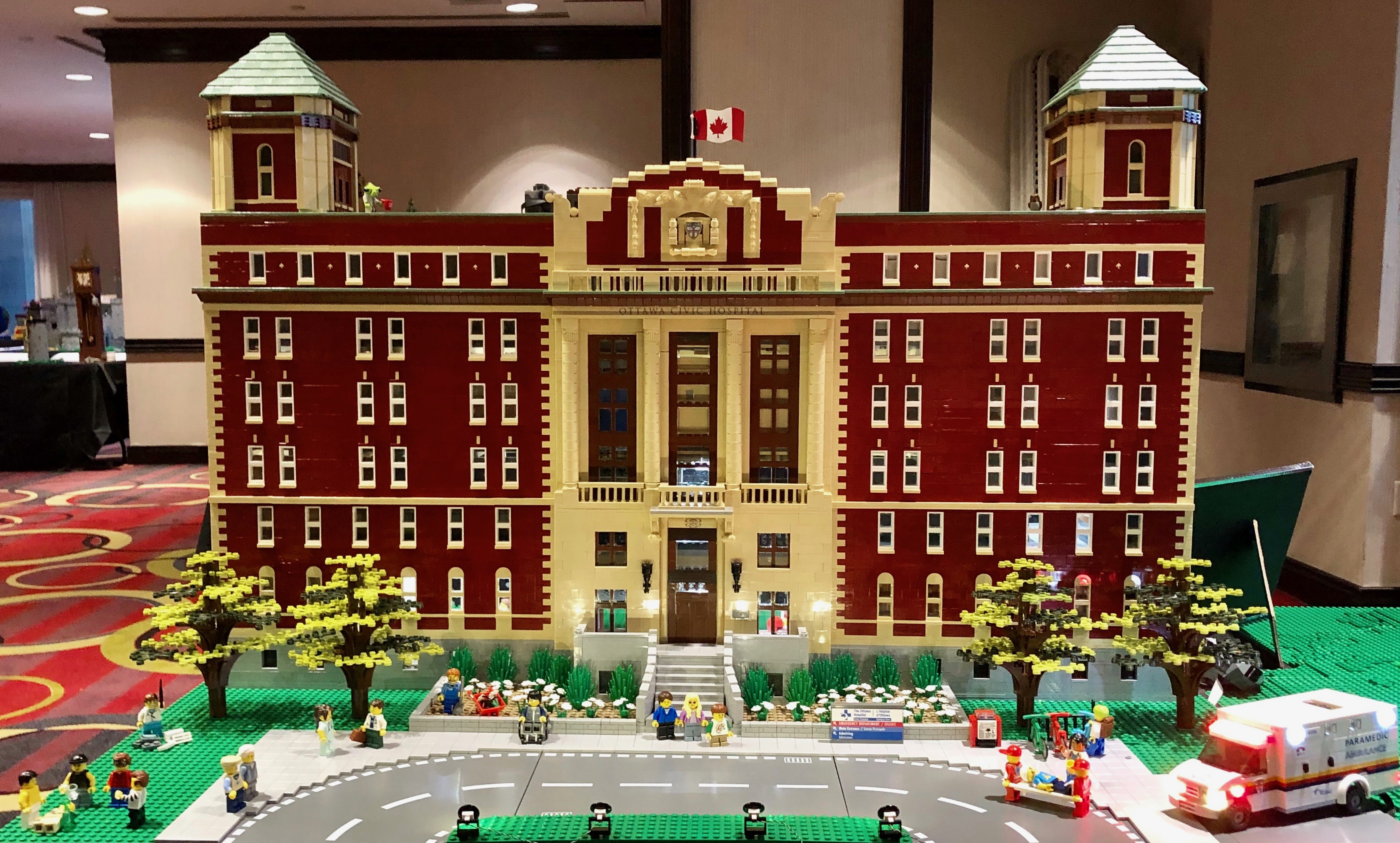 Lego replica of The Ottawa Hospital's Civic Campus.