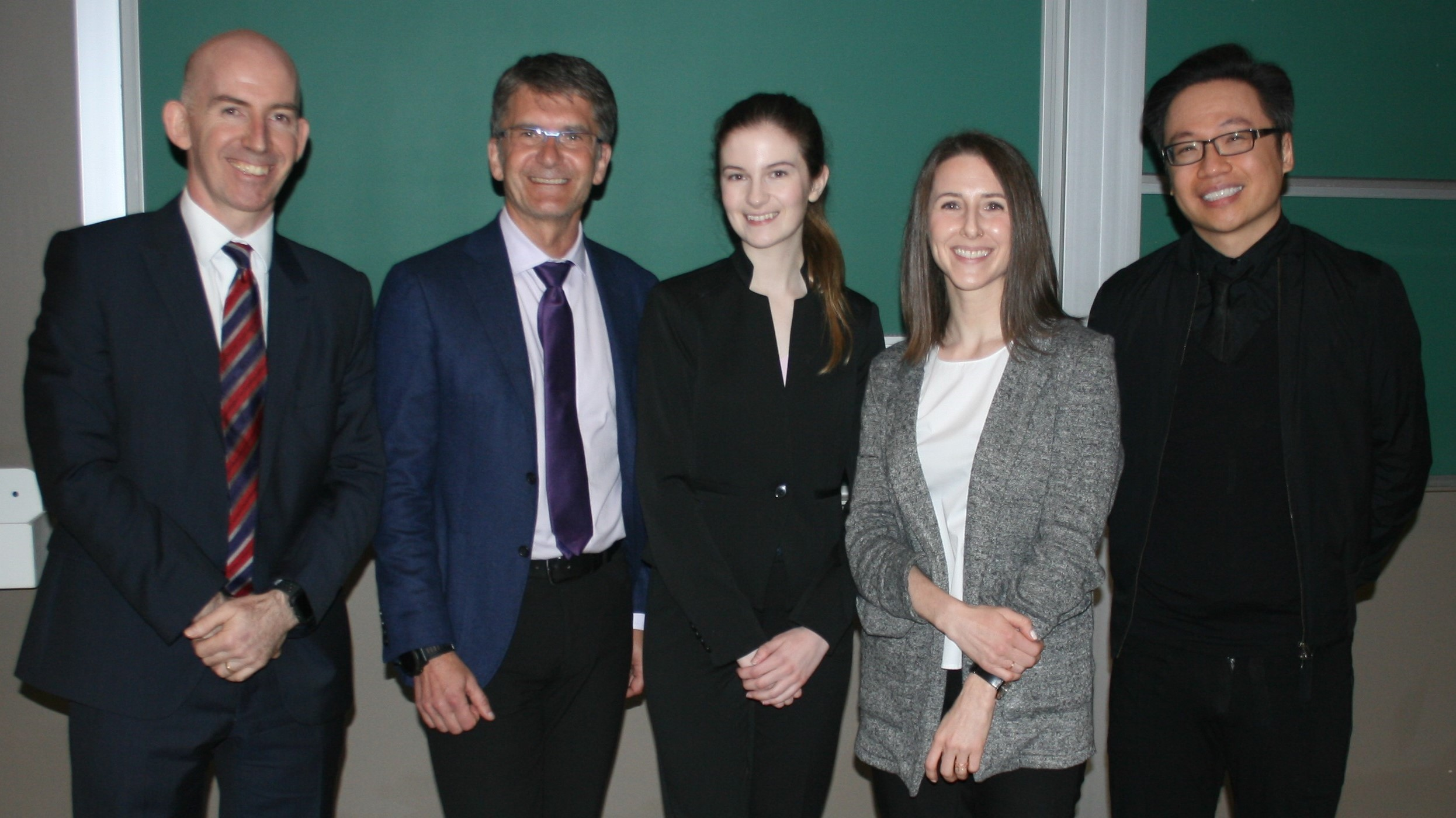 2018 Gary Johnson Research Day: (left to right) Dr. Colin McCartney, Dr. Greg Bryson, Jenna McNeil (BSc candidate), Dr. Kaitlin Duncan (PGY5) and Dr. De QH Tran