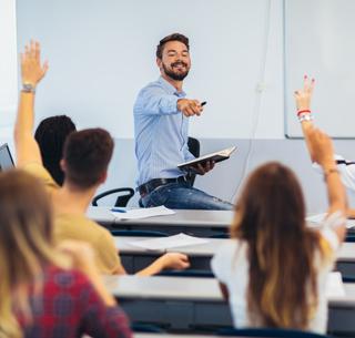 Professor teaching students