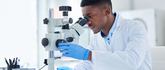 Scientifique qui regarde dans microscope