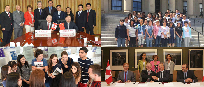 Des membres du corps professoral et étudiants de l'école conjointe de médecine Ottawa Shanghai