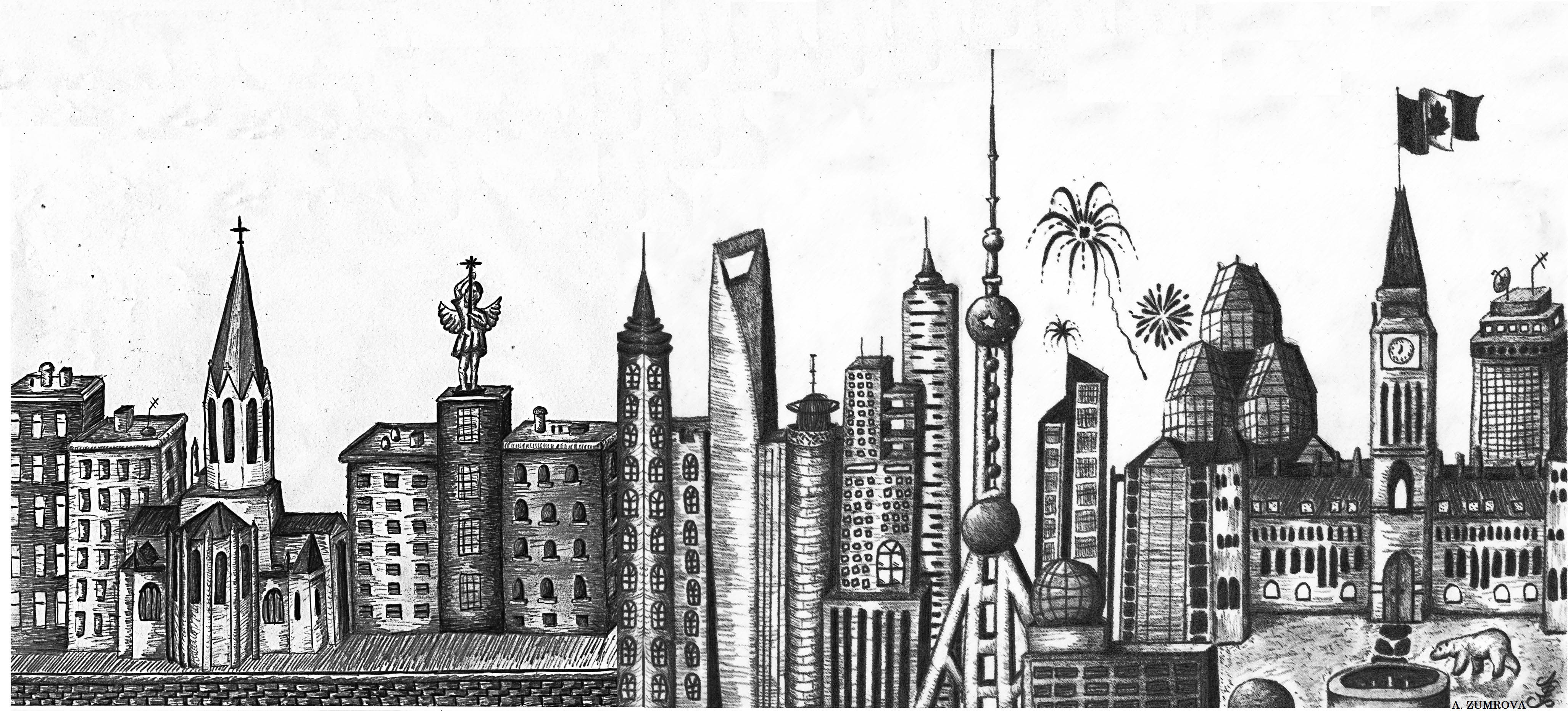 Drawing of the combined iconic skylines of Lyon, Shanghai and Ottawa.