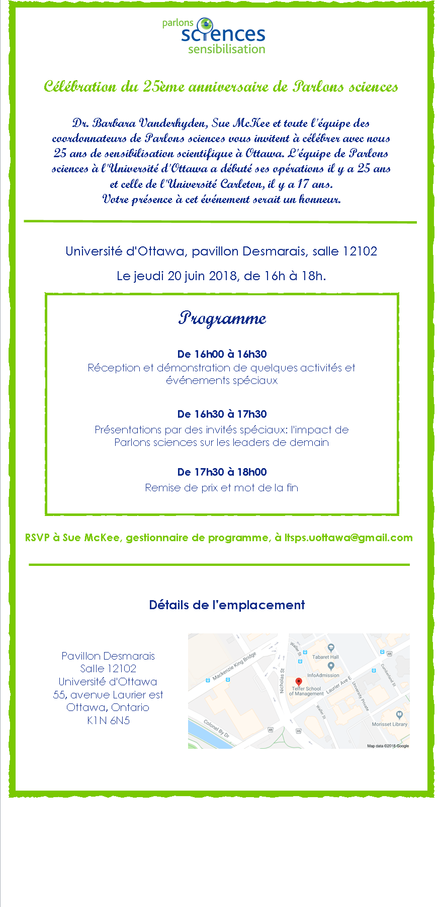 Parlons science invitation
