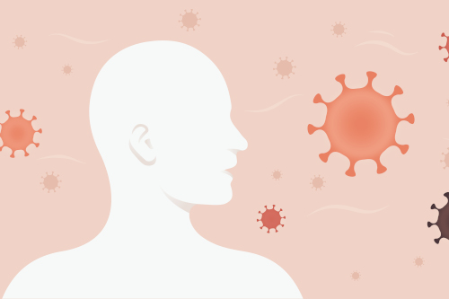 Silhouette of a person with surrounded by coronavirus