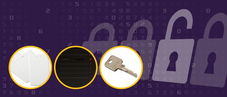 Keys, card access, card reader ; Clés, cartes d'accès, lecteur de carte