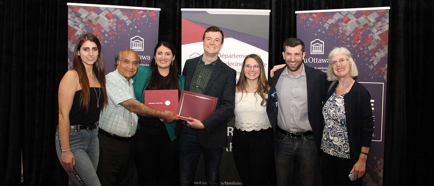 Dr. Emilia Bartellas (third from left) and Dr. Doug Dorward (middle), 2019 graduates with their family.