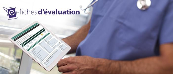 Le logo de e-fiches d'évaluation avec une tablette stylisée, et un médecin qui utilise une tablette pour accéder aux e-fiches d'évaluation.