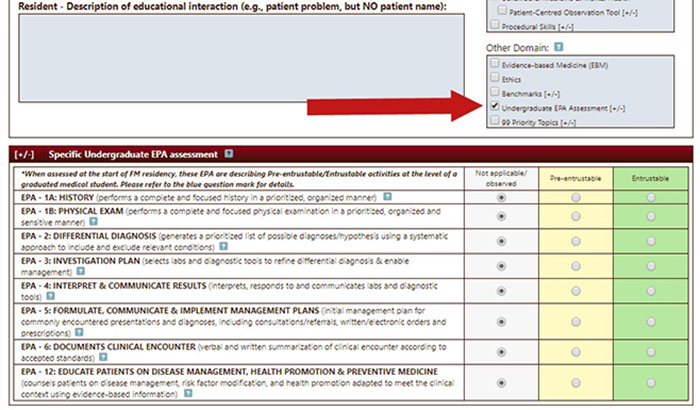 Screenshot of an eField Note showing how to expand the EPA assessment tool