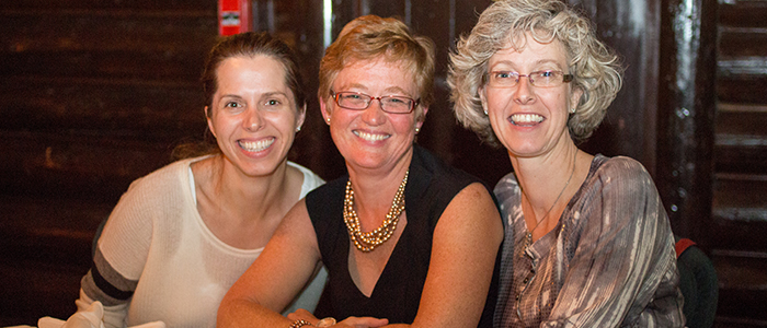 Dr. Véronique French-Merkley, Dr. Pamela Eisener-Parsche and Dr. Anne Harley at the faculty retreat
