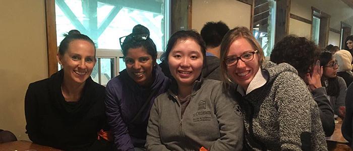 Drs. Megan Neufeld, Shari Manga, Helen Gao and Jillian Smith at the resident retreat