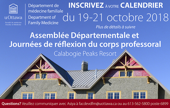 Save the date for the Faculty Retreat October 19-21 at Calabogie Peaks Resort