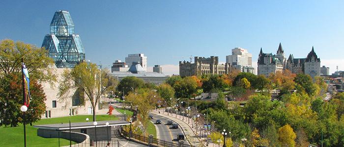 Une vue du centre-ville d'Ottawa.