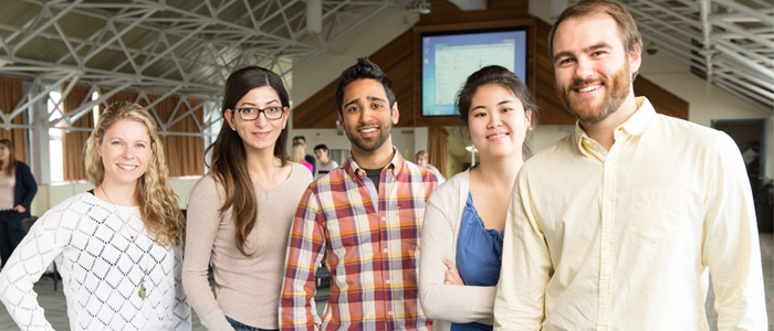 Five uOttawa family medicine residents come together from their various teaching units for Academic Day