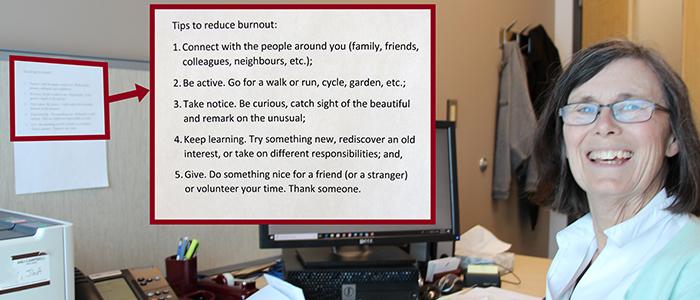 Dr. Dianne Delva at her desk with tips for reducing burnout