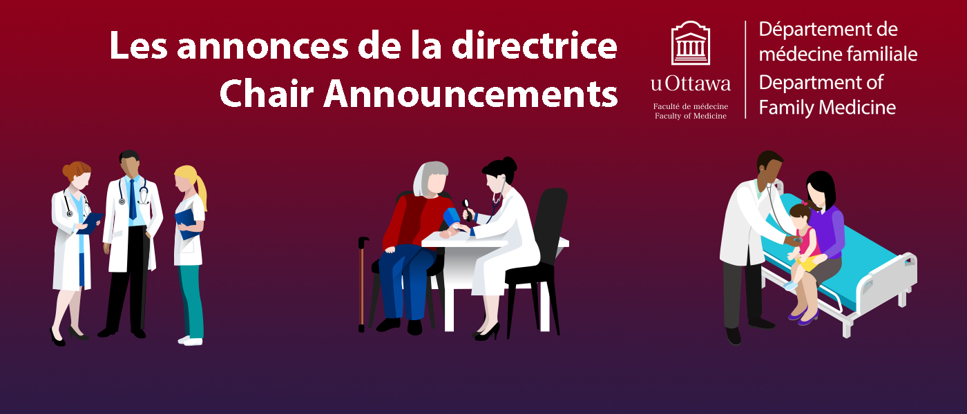 Chair Announcements - graphics of doctors and patients