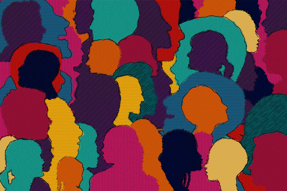 Tapestry of diverse people in profile
