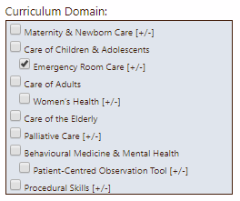 Curriculum domains in eField Notes