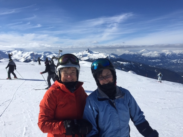 Dr. Delva in Whistler, BC with her sister.
