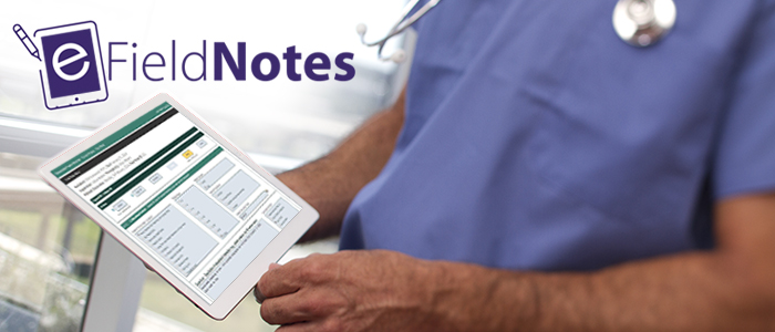 The eField Note logo with a stylized tablet, while a physician uses a tablet to access the eField Note system.