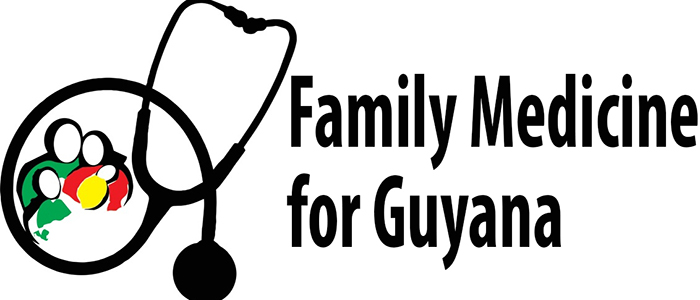 A stethoscope encirles the figures of a family of four, in the Guyanaese national colours, and bold text reads