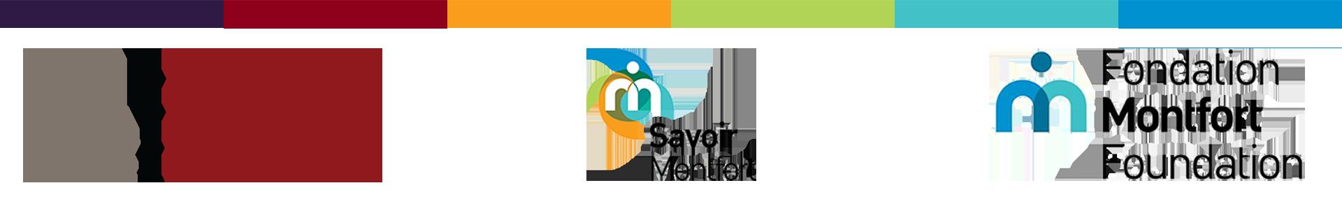 Multi-coloured bar with DFM, ISM and Fondation Montfort logos