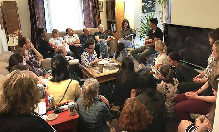 Journal club meeting at Dr. David Tobin's house