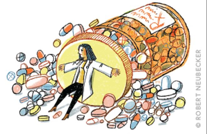 Illustration of a doctor holding back medications