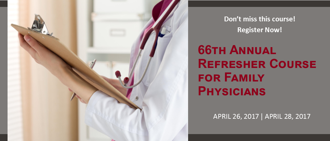 Annual Refreher, April 26 - 28, 2017. Register Now!