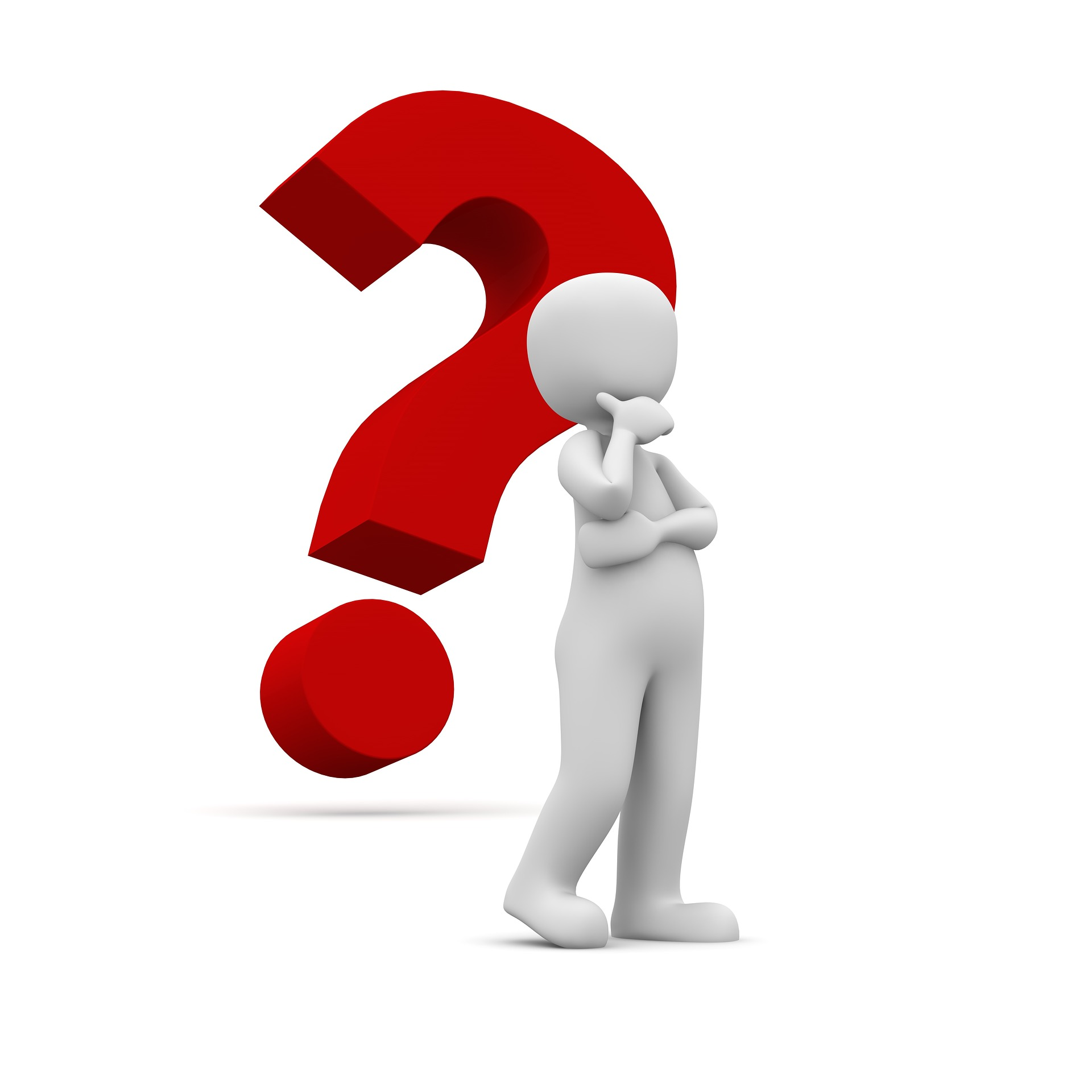 person thinking, with question mark