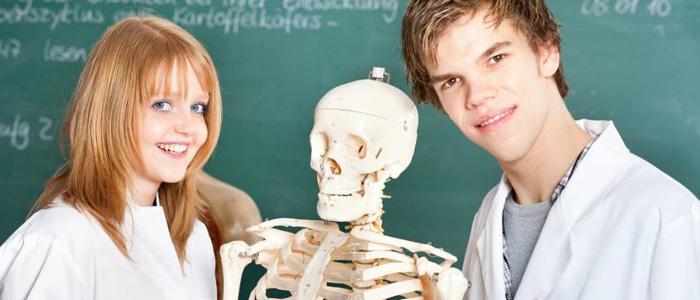 Un jeune étudiant en sarreau blanc au côté d'un squelette, dans une salle de classe
