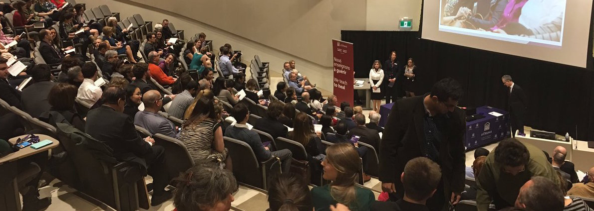 A large audience takes in the awards ceremony at Roger Guindon Hall.