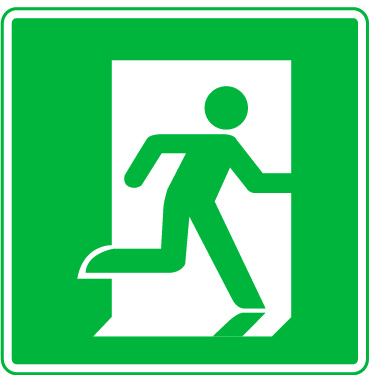 Pictogram of a person fleeing through a doorway