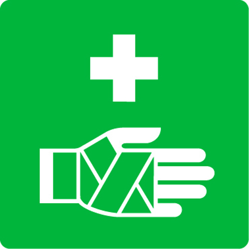 Pictogram of a cross and a bandaged hand