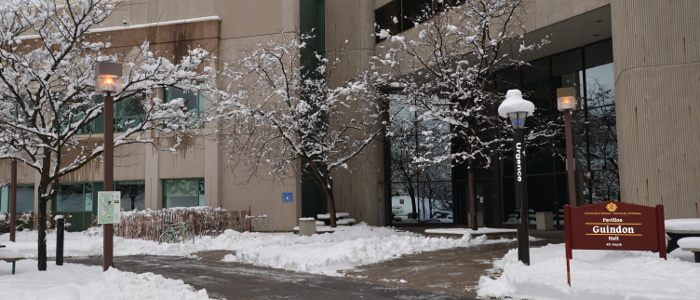 Exterior view of Roger Guindon building during winter.
