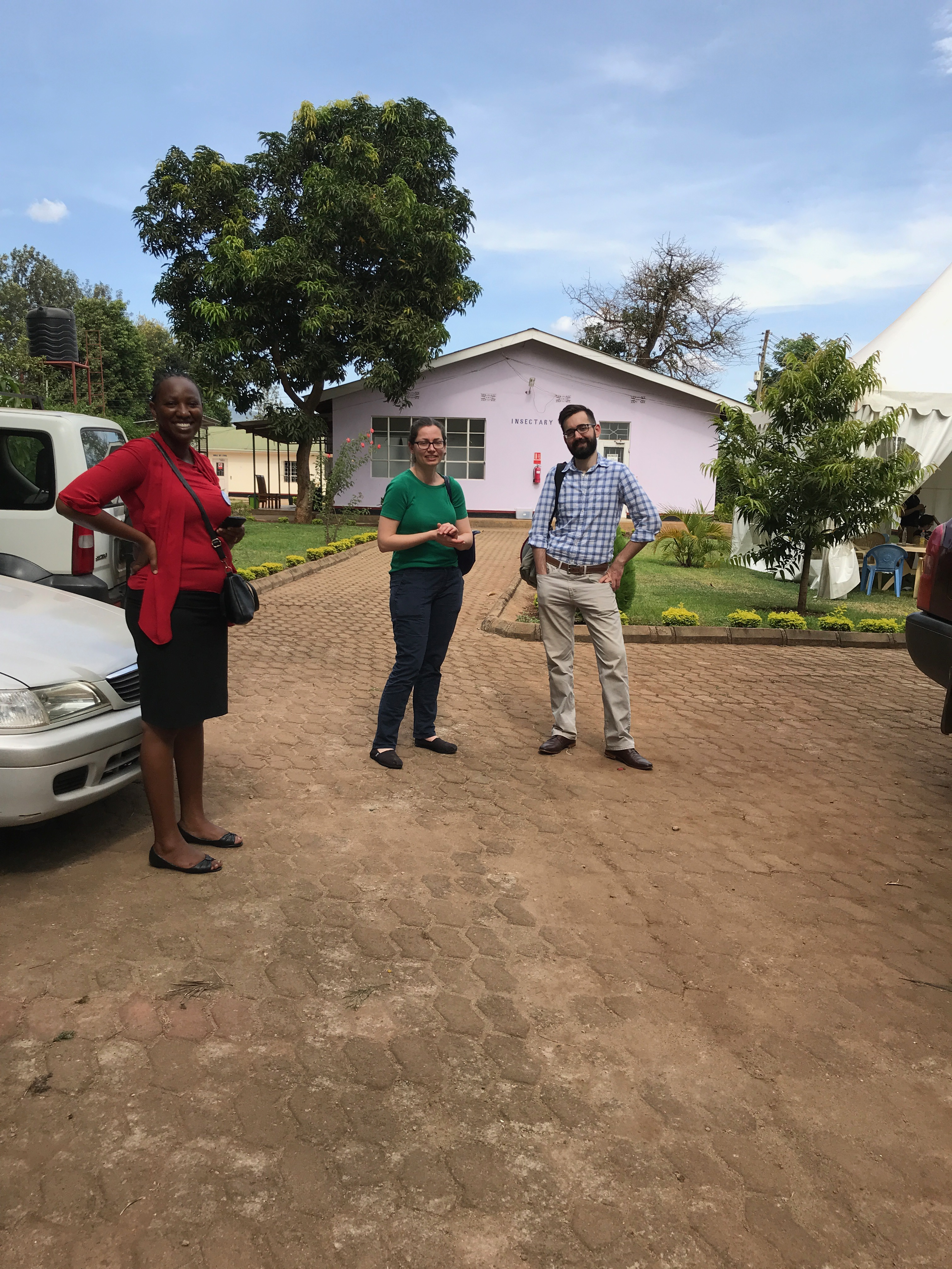 Graduate student working with research partners in Moshi, Tanzania