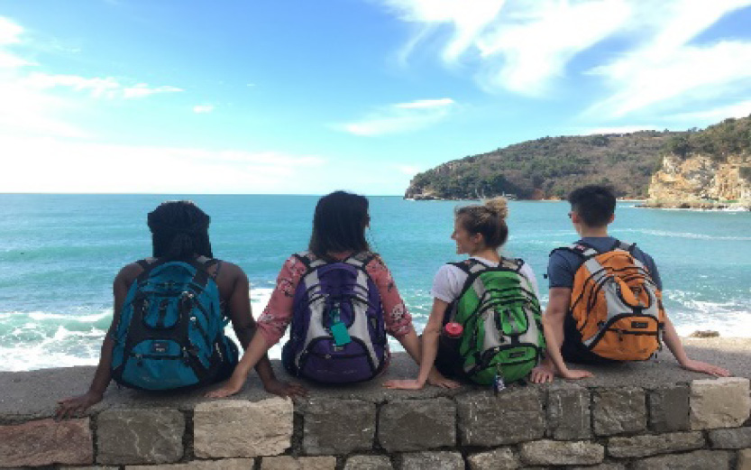 A group of medical students sitting on a rocky beach in Montenegro