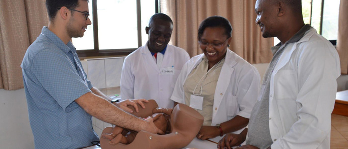 Dr. Adam Garber teaching surgery skills in Tanzania