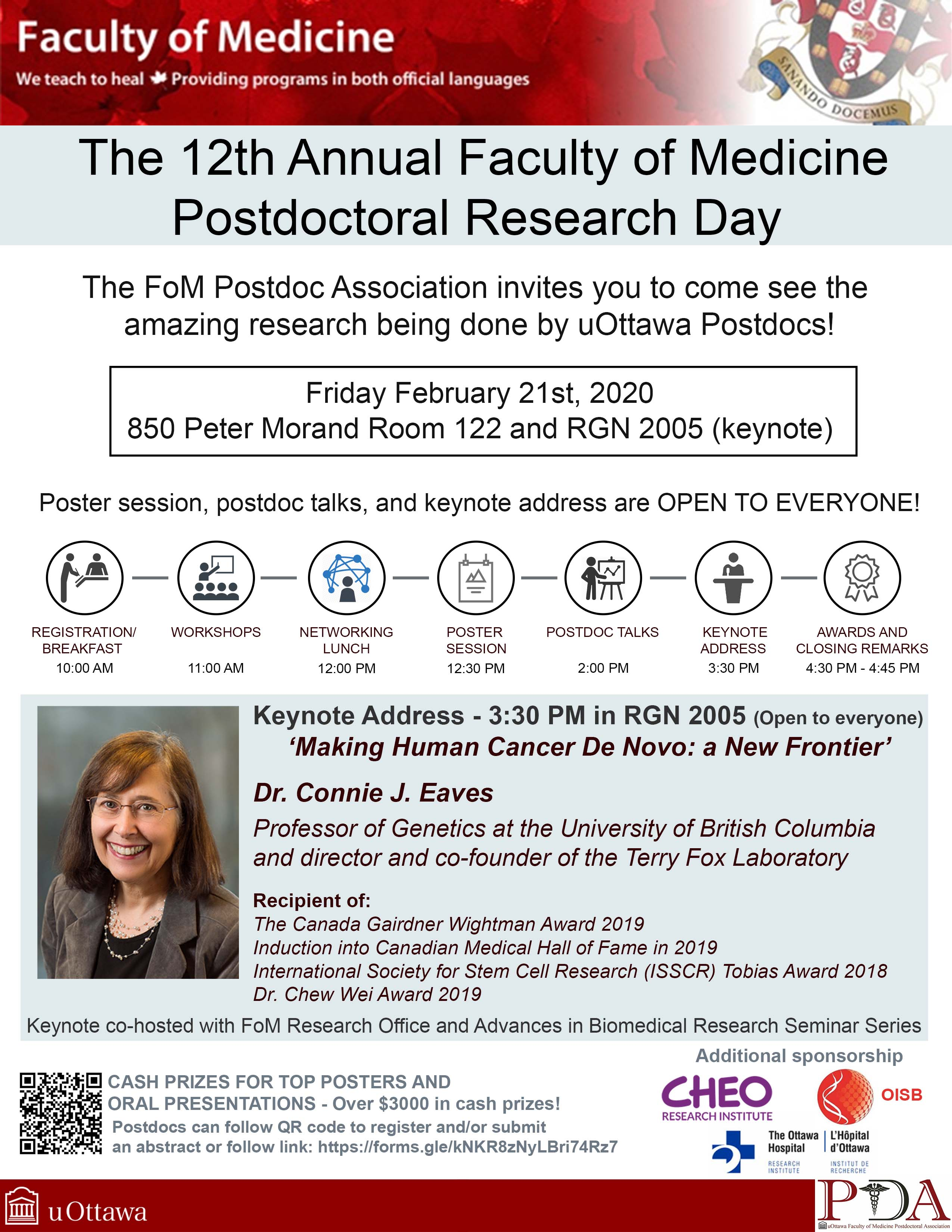 poster for Postdoctoral Research Day and Pic of Dr. Connie Eaves
