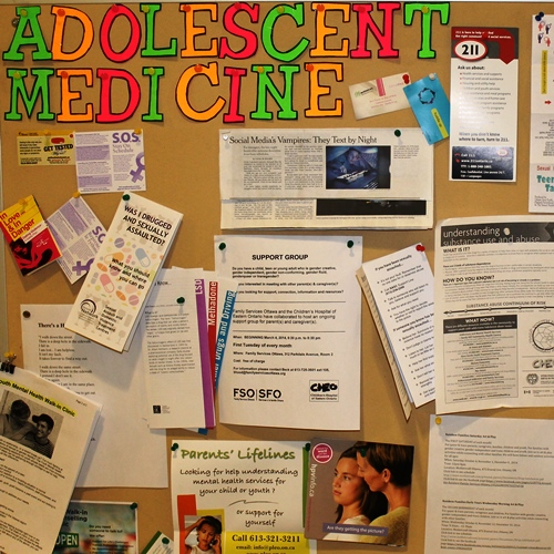 A bulletin board with health information for children and youth