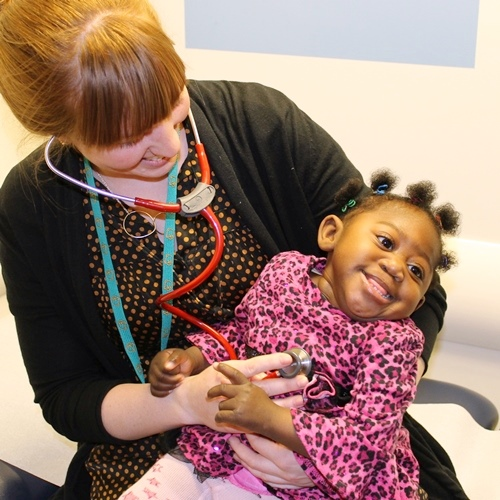 A physician and a toddler
