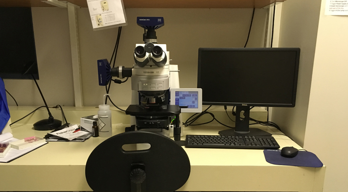 Zeiss AxioImager M2 upright microscope platform in University of Ottawa CBIA Core facility.