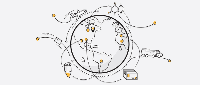 Earth with various scientific and transport pictograms
