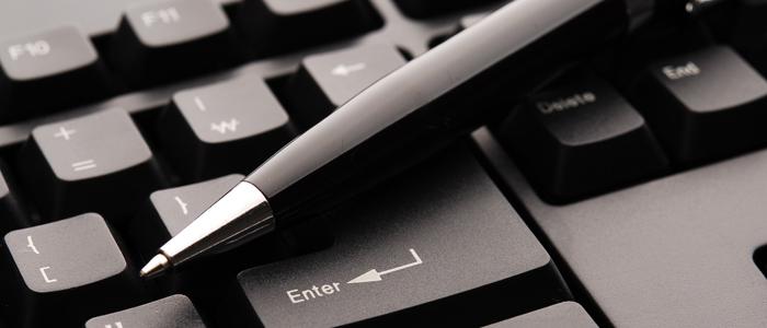 One hand on keyboard