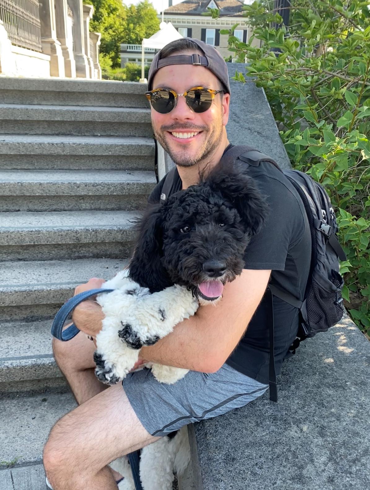Matthew Volpini with his dog
