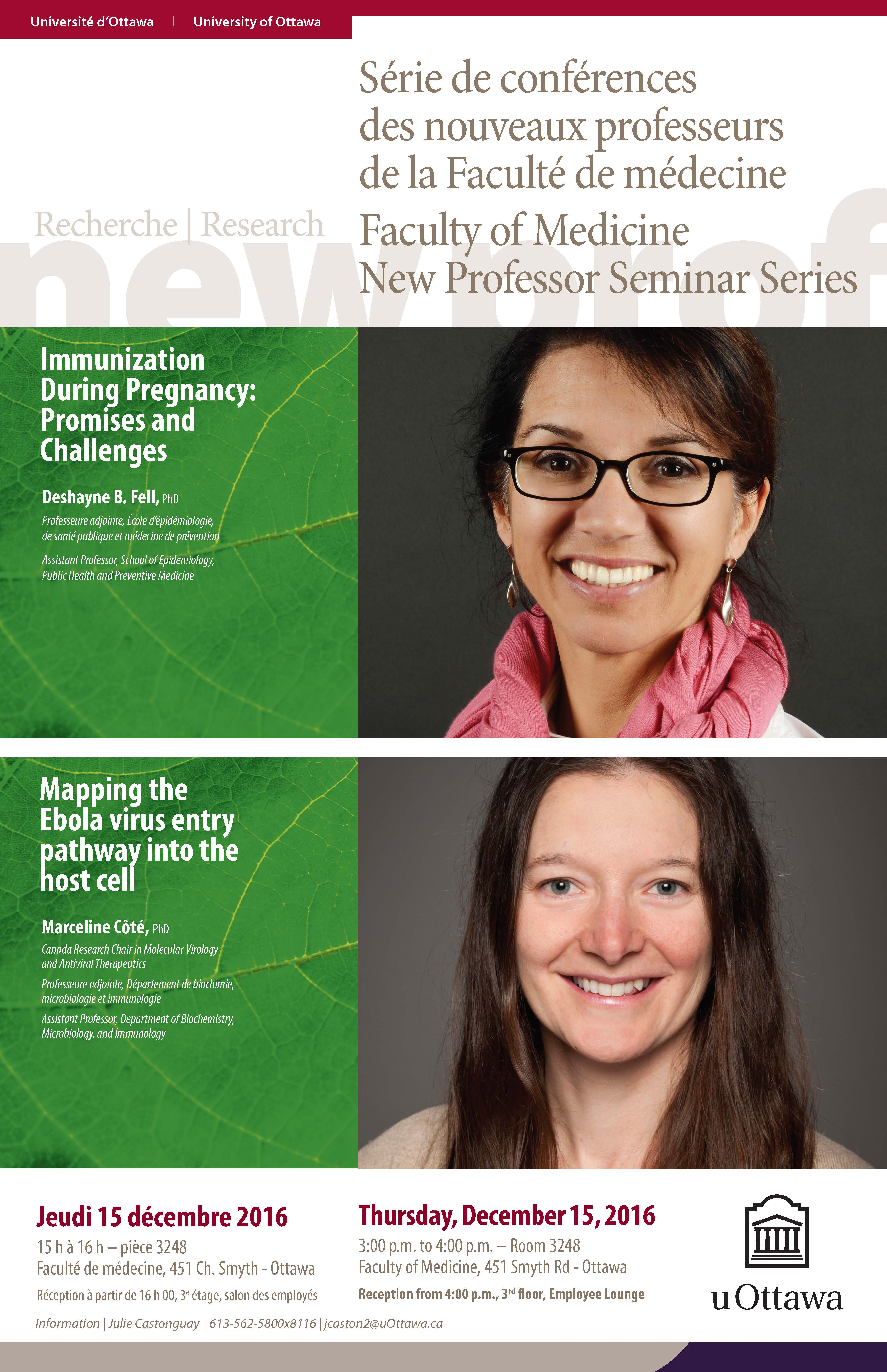 New Professor Seminar Series lecture Dr Deshayne Fell and Dr Marceline Cote