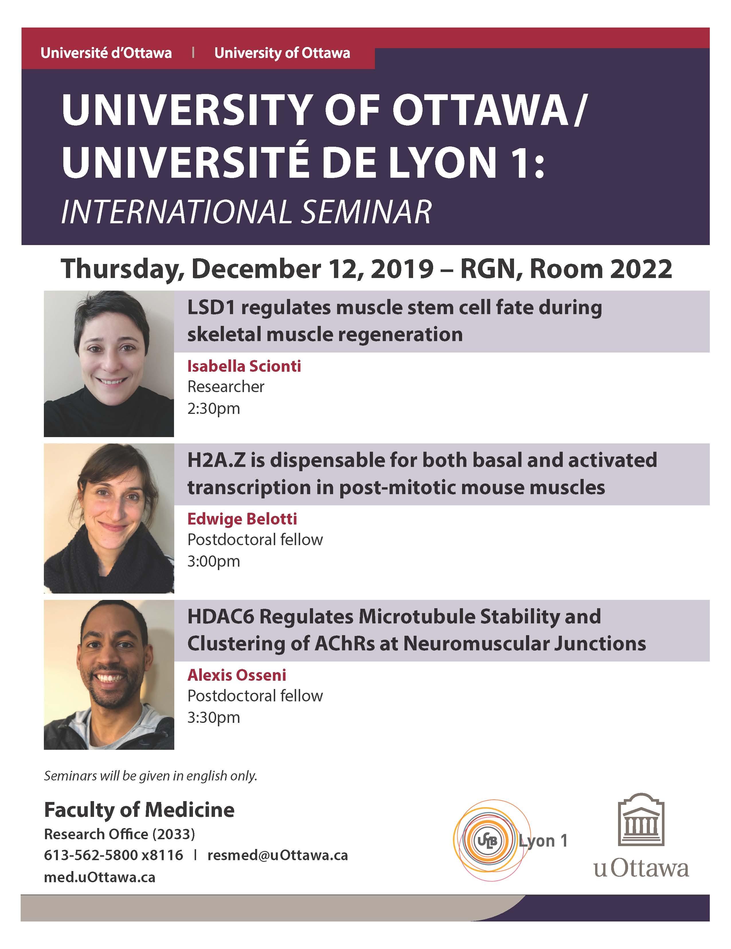 University of Ottawa / Université de Lyon 1 International Seminar