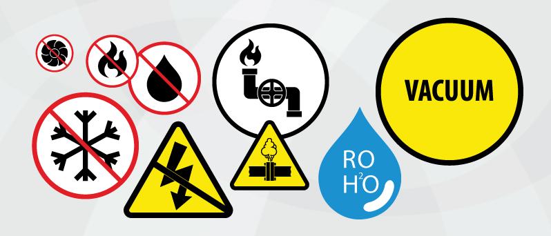 Icons of heating, cooling, ventilation, steam, water, gaz, electricity, vacuum, reverse osmosis; Symboles de chauffage, climatisation, ventilation, vapeur, eau, gas, électricité, vacuum, osmose inversée